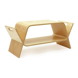 OFFI - Embrace Media Storage/Table, Birch - Designed to store modern media such as DVD's, CD's, books and magazines. This smart piece of furniture naturally forms two low modern tables that are then 'embraced' together in order to form a storage unit / magazine rack / occasional table.