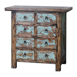 Uttermost - Uttermost Camryn Aged Accent Chest 24361 - Constructed with antique Chinese tradition, the solid elm wood drawers and cabinet are beautifully finished in vibrant, robin's egg blue and black crackle, heavily distressed to show wood grain undertones.
