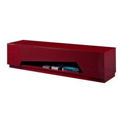 JNM Furniture - TV125 Modern Red Lacquer Finish TV Base - Featuring an eye catching asymmetrical design, this modern tv unit has uniquely styled drawers which add an abstract attractiveness. Crafted in a bold red high gloss, this TV stand also features soft closing tracks, and space for media units with precut holes for easy wiring of any devices.