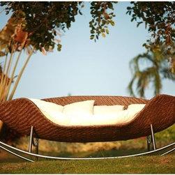Foglia Rocking Outdoor Wicker Sofa - The Foglia outdoor wicker rocking sofa is 121'' long.