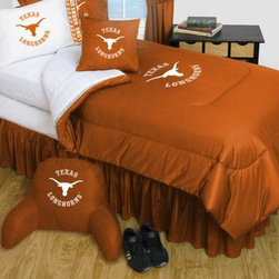 Sports Coverage - Texas Longhorns Bedding -NCAA Comforter and Sheet Set Combo - Twin - This is a great University of Texas Longhorns NCAA Bedding Comforter and Sheet set combination!. Buy the Microfiber Sheet set with the Comforter and save off our already discounted prices. Comforter is made from 100% Polyester Jersey Mesh - just like what the players wear. The fill is 100% Polyester batting for warmth and comfort. Authentic team colors and logo screen printed in the center. Soft but durable. Machine washable in cold water. Tumble dry in low heat.  Microfiber Sheet Hem sheet sets have an ultrafine peach weave that is softer and more comfortable than cotton.  Its brushed silk-like embrace provides good insulation and warmth, yet is breathable.  The 100% polyester microfiber is wrinkle-resistant, washes beautifully, and dries quickly with never any shrinkage. The pillowcase has a white on white print beneath the officially licensed team name and logo printed in vibrant team colors, complimenting the NEW printed hems. The Teams are scoring high points with team-color logos printed on both sides of the entire width of the extra deep 4 1/2 hem of the flat sheet.  Includes:  -  Flat Sheet - Twin 66 x 96, Full 81 x 96, Queen 90 x 102.,    - Fitted Sheet - Twin 39 x 75, Full 54 x 75, Queen 60 X 80,    -  Pillow case Standard - 21 x 30,    - Comforter - Twin 66 x 86, Full/Queen 86 x 86,