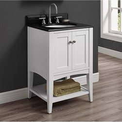 """Fairmont Designs - Fairmont Designs Shaker Americana 24"""" Vanity - Open Shelf - Polar White - Fairmont Designs is described in two words; quality and beauty. Express your creativity with Fairmont Designs bathroom vanities and bath furniture ensembles. The distinctive families of bath furniture from Fairmont Designs come in styles for every bath. Artistry and elegance are delivered in carefully constructed products built with sustainable materials and sturdy craftsmanship. From petite corner solutions to traditional sized pieces, Fairmont Designs is your choice for exquisite and timeless beauty.The Shaker Americana offers clean lines; exceptional durability and fine craftsmanship render this sensible and gracious style as popular today as it was in the 19th century. Featuring a streamlined silhouette, simple brushed nickel hardware and gentle tapered legs in a crisp Polar White or Habana Cherry finish; the Shaker Americana will enhance any bathroom setting Features Poplar Solids with Hardwood Veneers 2 Doors Hinges: Fully concealed, Soft closing Open Shelf Hardware: Brushed Nickel Actual cabinet color may vary because each piece is handmade and finished How to handle your counterView Spec Sheet"""