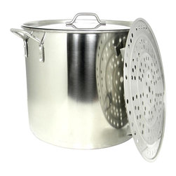 BALLINGTON - 60 Qt Large Stainless Steel Stock Pot Steamer Insert Rack, Riveted Handles - This 60qt stock pot is made of heavy duty 18/0 commercial quality stainless steel, with solid riveted stainless steel riveted handles for extra strength. This does also include a steamer insert rack with feet to hold heavier items. The steel is approximately 1.1 mm think.