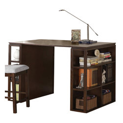 Steve Silver - Bradford Writing Desk - Dark Oak - Work comfortably and confidently with the Bradford writing desk and counter chair. This desk offers unique shelves displayed on the side. Show off your favorite books, or keep your files organized and accessible with the Bradford writing desk.