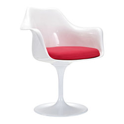 IMPORT LIGHTING & FURNITURE - Tulip Arm Chair Modern White dining chair Red seat cushion - The much-celebrated Tulip Arm Chair, The curves of the chair and the tulip shaped base completely eliminate the need for chair legs, which melds perfectly with the mid century modern ideals Features.