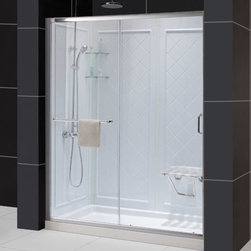 Dreamline - Infinity-Z Frameless Sliding Shower Door, 32x60 Shower Base & QWALL Backwall Kit - This kit combines the INFINITY-Z shower door, universal shower backwall panels and a coordinating SlimLine shower base to completely transform a shower space. The INFINITY-Z sliding shower door is matched with a stationary glass panel to provide a wide bath entry. The stationary panel is fitted with a convenient towel bar that doubles as a handle. The SlimLine shower base incorporates a low profile design for a sleek modern look, while the shower backwall panels have a tile pattern. This smart kit offers the perfect solution for a bathroom remodel or tub-to-shower conversion project.