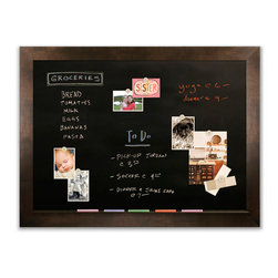 "Corkboard - 44"" x 32"" Framed Magnetic Chalkboard with 3"" Espresso Frame - Handcrafted in America using the finest materials available – including a premium magnetic porcelain chalkboard surface, custom chalk tray and real wood moldings."