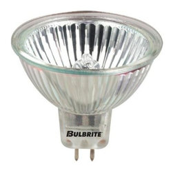 Bulbrite - Bright White Halogen Light Bulbs w Lens - 10 Bulbs (35w) - Choose Wattage: 35w. One pack of 10 Bulbs. 12 V GU5 3 base bi-pin long life MR16 bulb type. Fully dimmable. 38 degree flood beam spread. Lensed for UV stop protection. Ideal for residential and commercial applications. Commonly used in track lighting, art galleries, jewelry stores and salons. Color rendering index: 100. Average hours: 10,000. Color temperature: 2700 K. 20 watt:. Lumens: 600 CP. Center beam candle power: 600. 35 watt:. Lumens: 1100 CP. Center beam candle power: 1100. 50 watt:. Lumens: 1650 CP. Center beam candle power: 1650. Maximum overall length: 1.88 in.