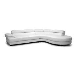 Melbourne Leather Sectional with Right-Facing Lounge in White - When it comes to outfitting your family home, turn off your design autopilot and think big. This large White Melbourne Leather Sectional With Right-Facing Lounge gives you plenty of seating options and loads of style. Made from a combination of a freestanding sofa and chaise, the sectional has a sturdy hardwood and plywood foundation. Medium-firm foam cushions provide comfort and charm to this leather-upholstered 2-piece sofa and chaise lounge set. Spills and messes are easy to clean: simply wipe with a damp cloth and dry immediately.