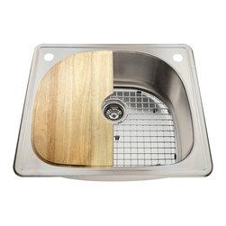 Polaris Sinks - Polaris P1242T 18 Gauge Kitchen Ensemble - Polaris P1242T 18 Gauge Ensemble (4 Items: Sink, Standard Strainer, Sink Grid, Cutting Board
