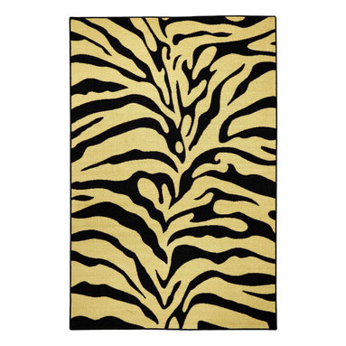 None - Rubber Back Black and Ivory Tiger Print Non-Skid Area Rug (3'3 x 5') - This richly designed area rug features a trendy black,ivory and tan tiger print or a modern,versatile touch to any room. Designed to be stain resistant,this rug features a non-skid rubber backing,alleviating the need for a rug pad.