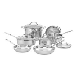 "Cusinart Chef's Classic Stainless 11 Piece Cookware Set - The kitchens of France were the inspiration behind the elegant Cuisinart Chef's Classic Stainless Cookware Collection. Chef's Classic 11 piece cookware set features stainless steel and pure aluminum encapsulated in the base for fast and even heating. We guarantee it with a limited lifetime warranty.Set Includes 1.5 quart covered saucepan 2.5 quart covered saucepan 3 qt saute pan w/ glass cover 8 qt stockpot w/ glass cover 8"" skillet 10"" skillet 18cm steamer insert"