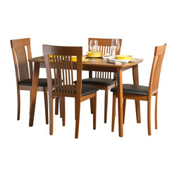 """Aeon Furniture - Dayton Dining Table Set with Hartford Dining Chairs in Cherry - Set includes table and 4 chairs. Dayton Dining Table. Solid Beech Wood Frame. Warm Cherry Finish. Beech Veneer Over MDF Top. Butterfly Extension Leaf. Open Dimensions: 59"""" w x 31.5"""" d x 29.5"""" h. CARB Rated. Assembly Required. Open: 59 in. L x 31.5 in. W x 59 in. W x 29.5 in. H. 47.25 in. L x 31.5 in. W x 29.5 in. H (51 lbs.). Hartford Dining Chairs:. Durable Quality Construction. Comfortable Slatted Back. Warm Cherry Finish. Black Leatherette Fire Resistant Padded Foam Seat. CARB Rated. Assembly Required. Seat Height: 18 in.. 21 in. L x 18 in. W x 37 in. H (14 lbs.)With its great look and contemporary design, this extendable dining table meets your dining and entertainment needs while enhancing the look of your home.  The table is constructed of a solid beech wood frame, stained in a warm cherry finish.   The self-contained 17.5"""" extension leaf easily transforms this table from an intimate piece to the social center of your home. Brilliantly crafted simplistic styling and durable quality construction make this dining chair a perfect addition to any home.  Our chairs are made of solid beech wood, featuring a comfortable slatted back."""