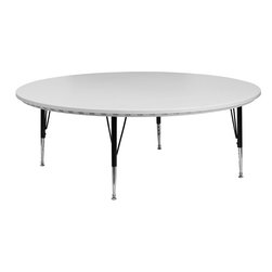Flash Furniture - 60'' Round Height Adjustable Granite White Blow Molded Activity Table - This waterproof and stain resistant round blow molded table was designed to last throughout the years. This table can be used for a range of things from the classroom, training room or any casual function. This lightweight table is height adjustable to accommodate all users. Self-leveling floor glides prevent wobbling and will keep your work surface level.