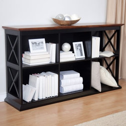 Belham Living - Belham Living Hampton Console Table Bookcase in Black/Oak - KY048-BO - Shop for Bookcases from Hayneedle.com! As we know all too well adding storage to your living room can be a tricky endeavor. You don't want a bulky cabinet that takes up a lot of space but you do need shelves for your media collection and components. Good thing your solution is right here - The Belham Living Hampton Console Table Bookcase in Black/Oak - a Hayneedle exclusive that combines storage and style in one conveniently sized package. It has two shelves which each feature three cubby compartments so you'll have a total of six cubbies for books DVDs CDs display items and more. Each compartment has a cord/wire management hole in the back so hooking up and moving electronics is so easy. Constructed with a solid birch wood frame in a dramatic ebony black finish this console table bookcase has strong durable engineered wood (MDF) shelves and compartment dividers in a matching black finish. The genuine wood veneer top has a richly grained dark oak finish and the look of the two finishes together gives the unit a cool contemporary flair. The sides of the unit have a modern X design that adds an artistic element to the console table's sturdy structure. Recommendation is not to stack more than 2 units. Assembly required. Dimensions Overall: 55.5W x 14.5D x 32H inches Compartment (each): 17W x 13.125D x 12.31H inches About Belham Living Belham Living builds catalog-quality furniture in traditional styles at a price that actually makes sense. By listening to our customers and working closely with great manufacturers we build beautiful pieces worthy of your home. Rich wood finishes attention to detail and stylish lines that tie everything together are some of the hallmarks of a Belham Living piece. From the living room or bedroom through the kitchen and out onto the deck there's something from an incredible Belham collection perfect for your style.