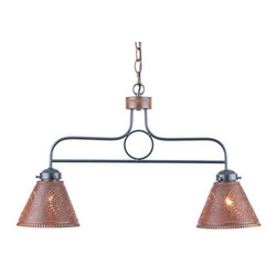 Irvin's Tinware - Medium Franklin Hanging Light w/Chisel Design, Rustic Tin - Here is an ideal way to introduce the warm glow of country charm to a kitchen island or den area above the bar. Designed with two handcrafted shades that diffuse light downward. Made in USA.