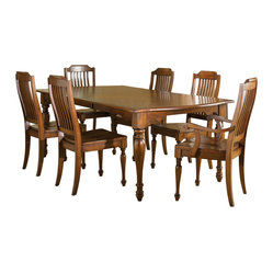 Liberty Furniture Americana 7 Piece 90x42 Dining Room Set in Chestnut, Medium Wo