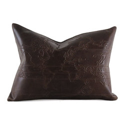 Pfeifer Studio - Leather Map Pillow - Add some old world charm to your favorite club chair with our worldly map pillow. It has a natural linen back, closes with a hidden garment zipper and is fitted with a medium-fill feather and down inner.