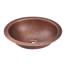 "MR Direct - MR Direct 909 Single Bowl Oval Copper Sink - The 909 oval single bowl undermount or topmount sink is made from 99% pure-mined copper. It is comprised using one piece construction, giving you a very strong and durable copper sink. Since copper is stain resistant, it is great for busy households that benefit from low-maintenance materials. The hammered finish looks great and provides a mask for small scratches that may appear over time. The overall dimensions of the 909 are 16 3/4"" x 14"" x 5"" with a centered drain and a required 18"" minimum cabinet size. The hand-crafted copper details are sure to add warmth and richness to any decor."