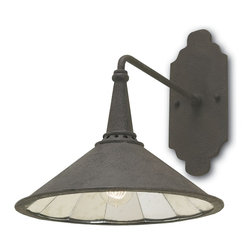Calhoun- Wall Sconce - Industrial Chic Overhead Wall Scone with Mirror Lined Shade