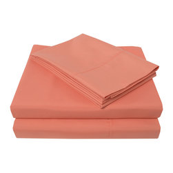 Heritage 3000 Series Sheet Set - King - Coral - The new Heritage Cabana Series features updated highest quality 100% microfiber sheets. The microfibers are 100 times thinner than a strand of hair making the weave impenetrable to allergens and dust mites. These sheets are built to last and provide the utmost comfort for the most affordable price.