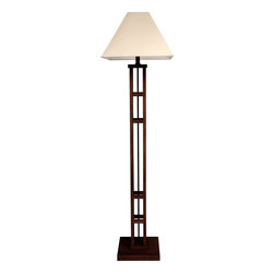 "Oriental Furniture - 62"" Mosko Floor Lamp, Walnut - This chic modern floor lamp is crafted from Scandinavian spruce. The dramatic design will stand out in the home or the office."
