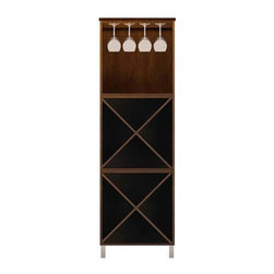 Howard Miller Custom - Lily Cabinet w 2 Shelves in Espresso - This cabinet is finished in Espresso on select Hardwoods and Veneers, with Nickel hardware. 2 storage shelves and 1 stemware rack. Flat profile top and metal leg base. Simple assembly required. 24 1/2 in. W x 15 3/4 in. D x 76 3/4 in. H