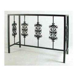 Grace Collection - Rose Garden Buffet Table w Glass Insert - Made from wrought iron. Made in USA. 49 in. W x 19 in. D x 36 in. H (110 lbs.)