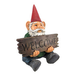 Zeckos - Welcome To My World Garden Gnome Welcome Garden Statue - This incredibly cool garden gnome lawn / garden statue gives a friendly welcome to guests to your home or garden. The figure measures 17 1/2 inches tall, 12 3/4 inches wide and 10 inches deep. Made of extremely durable bonded marble resin, this figure is fade and breakage resistant. This cute statue makes a great gift for family and friends.