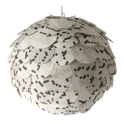 Zipper 8 Lighting - The Manhasset Crossword Pendant, Shade Only - The Manhasset Collection's Crossword Pendant is a striking black and white artichoke lamp shade created by applying circular pieces from crossword puzzles to a round paper lantern. The shade glows warmly when lit up, allowing a decent amount of light through the layers of paper. Each pendant features a variety of white and gray pages.