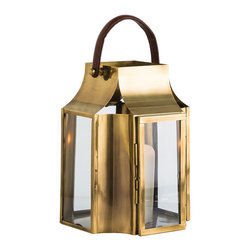 "Arteriors - Arteriors Home - Hailey Small Lantern - 4185 - Large scale antique brass and clear glass pillar holders with saddle brown leather handle. Holds a 6"" pillar or can be filled with serveral smaller diameter candles creating staggered flame patterns. Features: Hailey Collection Small LanternAntique Brass FinishClear Glass Some Assembly Required. Dimensions: H: 16.5"" x 12"" Sq"