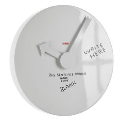 "Alessi - Alessi 'Blank Wall' Clock - Life's busy and you need all the help you can get to remind you — and others — what needs to be done, where and when. Write the ""what"" and the ""where"" on this inventive wall clock with an erasable pen; the arrow-shaped hour hand points to the ""when."""