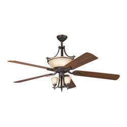 Kichler 6-Light Ceiling Fan - Olde Bronze - Six Light Ceiling Fan with an olde bronze finish, sunset marble glass and beautiful decorative scrollwork, this fan is a wonderful addition to the Kichler Olympia collection. The 5, 60 blades are pitched 14 degrees and are reversible for your choice of a walnut or cherry finish. The 188mm x 25mm motor will provide the quiet power you need. with full range dimming and intelligent return, the integrated uplight uses 6 15-watt b-10 bulbs. This fan comes complete with the full function cooltouch control system with independent up and down light control and 6 and 12 downrods. Check out the 380000oz and 380001oz to see the optional downlight fixtures.