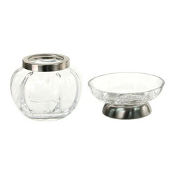 Windisch - Satin Nickel 2 Piece Accessory Set of Clear Glass - Toothbrush holder and soap dish are from the Windisch Botijo Collection.