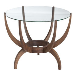 Arteriors - Oswald End Table, Walnut - Sometimes it's the fireplace. Sometimes it's the TV or the view. The focal point of your room may just become this sculptural modern end table. Six walnut arms curve up to cradle the round glass top while three legs curve down to elevate it from the ordinary — and add gawk-worthy style to your space.