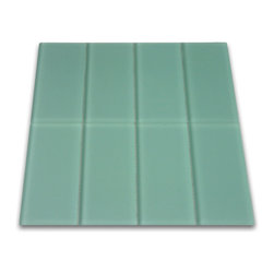 "Subway Tile Outlet - Frosted Sage Green Glass Subway Tile - The Frosted Sage Green Subway Tile is made from the strongest stain-resistant crystal clear glass. These tiles have a 8mm thickness that increases their durability and the depth of their color making them truly beautiful subway tiles. These subway tiles can be used for commercial or residential construction in either a wet or dry environment.    These Subway tiles are sold by the square foot comprised of 8 individual tiles. The individual tiles measure 3\x6"". This product comes on a mesh backing for easy installation."""