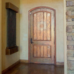 Faux Painted Doors - Faux, painting, door, rustic, stencil, raised plaster, metallic, bronze, green, brown, artist, artisan, faux finisher, distressed, aged