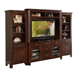 Riverside Furniture - Riverside Furniture Castlewood Entertainment Center in Warm Tobacco - Riverside Furniture - Entertainment Centers - 33541424849KIT - Riverside's products are designed and constructed for use in the home and are generally not intended for rental commercial institutional or other applications not considered to be household usage.Riverside uses furniture construction techniques and select materials to provide quality durability and value in our products and allows us to meet the wide range of design and budget requirements of our customers. The construction of our core product line consists of a combination of cabinetmaker hardwood solids and hand-selected veneers applied over medium density fiberboard (MDF) and particle board. MDF and particle board are used in quality furniture for surfaces that require stability against the varying environmental conditions in modern homes. The use of these materials allows Riverside to design heirloom quality furnishings that are not only beautiful but will increase in value through the years.