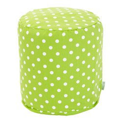 Majestic Home - Indoor Lime Small Polka Dot Small Pouf - Dot's all folks! As in all you need for a footstool, side table or seat. An upgrade on the beanbag, this poof is perfect for your favorite casual setting, and you can't beat it for easy care — just unzip the cotton twill slip and pop it in the wash.