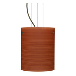 Besa Lighting - Besa Lighting 1KG-4006CH Tamburo 1 Light Cable-Hung Pendant - Tamburo is a classic open-ended cylinder of handcrafted glass, a shape that will stand the test of time. Our Cherry glass is a soft off-white cased glass that is handcrafted with spiraling strokes of dark red, emphasizing the subtle brush pattern. The reddish rippled design is subdued and harmonious. Unlit, it appears as simply a textured surface like wood grain, but when lit the texture comes alive. The smooth satin finish on the clear outer layer is a result of an extensive etching process, with the texture of the subtle brushing. This blown glass is handcrafted by a skilled artisan, utilizing century-old techniques passed down from generation to generation. The cable pendant fixture is equipped with three (3) 10' silver aircraft cables and 10' AWM cordset, and a low profile flat monopoint canopy.Features:
