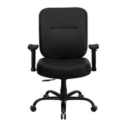 Flash Furniture - Hercules 500 lb. Capacity Big and Tall Black Leather Office Chair with Arms and - This chair has been tested to hold up to 500 lbs.! Not only will this chair hold the above average person, but it is amazingly comfortable. Chair will appeal for users of all heights and weights because of its comfort and sturdy construction. Chair has several adjustable functionalities so users can achieve their custom fit. Height adjustable arms are an added bonus to add to the appeal of this chair.