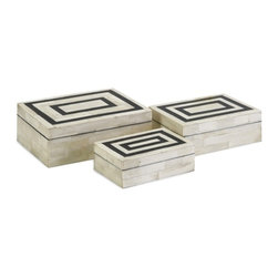 """IMAX CORPORATION - Bella Bone Inlay Boxes - Set of 3 - A set of three small decorative boxes made with bone inlay make the perfect desk, shelf or vanity accessory. White bone inlay with black geometric pattern gives these boxes a simple modern appeal. For a coordinated look, display with the Bella bone inlay photo frames. Set of 3 in various sizes measuring around 7""""l x 3.5""""W x 9.5""""H each. Shop home furnishings, decor, and accessories from Posh Urban Furnishings. Beautiful, stylish furniture and decor that will brighten your home instantly. Shop modern, traditional, vintage, and world designs."""