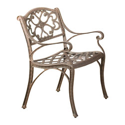 Home Styles - Home Styles Outdoor Dining Arm Chair in Rust Brown Finish (Set of 2) - Home Styles - Patio Dining Chairs - 5555802 - The Home Styles Outdoor Dining Arm Chairs are constructed of solid cast aluminum in a hand antiqued powder coat rust brown finish. They feature intricate metal work designs and nylon glides on all the legs. Distinctly traditional in style the Home Styles Outdoor Dining Arm Chairs are sure to fit comfortably in any deck or patio.Includes: