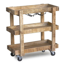 Reclaimed Wood Bar Cart with Wheels - Trolley-style cart on brass-accented casters is on a roll, as bar cart, tableside-serving station or portable media stand. Crafted of rough sawn mango wood, cart has three gallery shelves and two stemware racks under the removable top shelf. Cutout handles at the top make for easy steering and removable top shelf makes it easy for storing wine glasses.