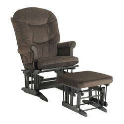 Dutailier - Multipositional Sleigh Reclining Glider Chair and Ottoman Combo (Brown) - Fabric: Brown. Exclusive glide system. Top quality sealed ball bearings. Multi position mechanism allows to stop the glider at the desired position. Reclining mechanism allow backrest to fully adjustable. Removable foam cushions and padded arms. Easy care micro fiber fabric. Frame made from hardwood. Minimal assembly required. Espresso finish. Made in Canada. Chair: 31 in. W x 27 in. D x 42.5 in. H. Ottoman: 20 in. L x 18 in. W x 14.75 in. HThis Sleigh glider and ottoman combo offers an exceptionally smooth and extra long glide motion with thick cushions and padded arms that will add class and elegance to your decor. There are no sharp edges, the finish is toxic free and this product meets all safety standards.