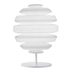 """Kundalini - Kundalini Honeymoon Table Lamp - The  Honeymoon table lamp by Kundalini was designed by John Sebastian 2007.   This contemporary table lamp has an opal mouth blown glass diffuser  with a white painted metal structure.  The Honeymoon table lamp is made  with only the highest grade materials and will be a beautiful addition  to your decor.  Available in two sizes. Product description:  The Honeymoon table lamp by Kundalini was designed by John Sebastian 2007.  This contemporary table lamp has an opal mouth blown glass diffuser with a white painted metal structure.  The Honeymoon table lamp is made with only the highest grade materials and will be a beautiful addition to your decor.  Available in two sizes.                         Manufacturer:                        Kundalini                                                 Designer:                        John Sebastian                                         Made in:                        Italy                                         Dimensions:                        Small: Width: 4.9"""" (12.5 cm) X Height: 10.2"""" (26 cm)             Large: Width: 13.7"""" (35 cm) X Height: 18.1"""" (46 cm)                                         Light bulb::                        Small: 1 X 33W G9 halogen             Large: 1 X 80W E26                                          Material:                                                                                                            glass, metal"""