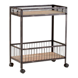 "Joshua Marshal - Raw Iron / Natural Wood 31.5"" Desmond Cart Wine Rack - Raw Iron / Natural Wood 31.5"" Desmond Cart Wine Rack"