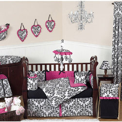 Sweet Jojo Designs - Isabella Hot Pink, Black and White Collection 9pc Crib Bedding Set - Isabella Pink 9 piece Crib Bedding set has all that your little bundle of joy will need. Let the little one in your home settle down to sleep in this incredible nursery set. Features: -Set includes crib blanket, bumper, fitted sheet, skirt, 2 window valances, diaper stacker, toy bag and pillow. -Isabella collection. -Uses the stylish pink color pallete of hot pink, black and white. -Material: 100% Cotton combined with soft chenille fabric. -Gorgeous damask print and ultra soft minky swirl chenille. -Coordinating accessories including sheets, wall dcor, window treatments and more. -Fit all cribs and toddler beds. -Machine washable and dryable.
