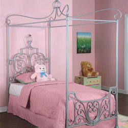 Powell Furniture - Princess Rebecca Canopy Bed in Sparkle Silver - * Mattress, pillow and legged frame not included. Designed with the look of lace. Rendered in elaborate wrought iron. Recommended for use with legged bed frame. Minimal assembly required. 83.25 in. L x 40.25 in. W. Assembly Instructions