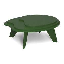 Loll Designs - Topo Table, Evergreen - Designed with Eva Sobesky, the Topo Table is casually eye-catching and unexpected. This smaller, tiered table, is inspired by the concentric lines of elevation on a topo map. The Topo works well with Loll's lower slung lounge chairs and chaise lounges like the Cabrio, Vang, and Luge.